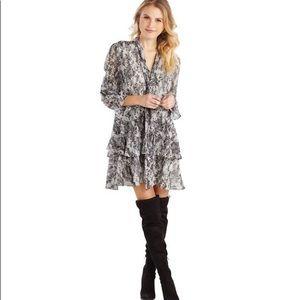 Mud Pie Gray Python Decklan Flounce Dress